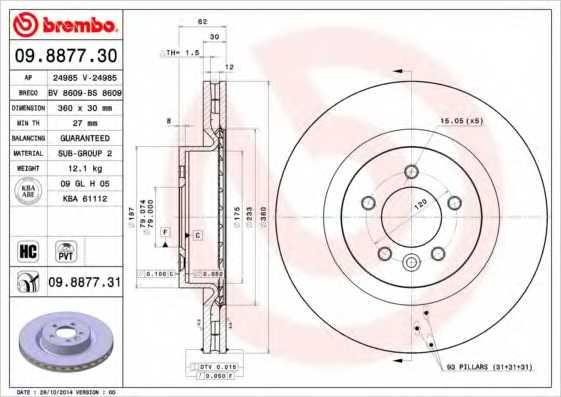 Тормозной диск BREMBO 09.8877.31 - изображение