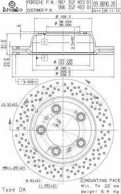 Тормозной диск BREMBO 09.8890.21 - изображение