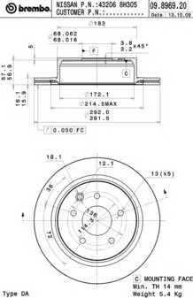 Тормозной диск BREMBO 09.8969.21 - изображение
