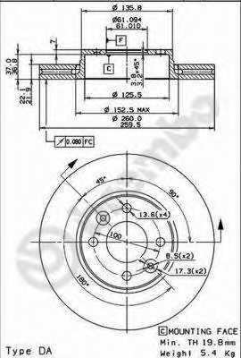 Тормозной диск BREMBO 09.9078.11 - изображение