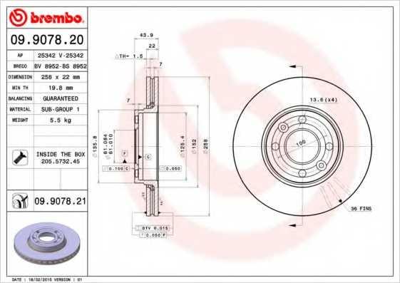 Тормозной диск BREMBO 09.9078.20 - изображение