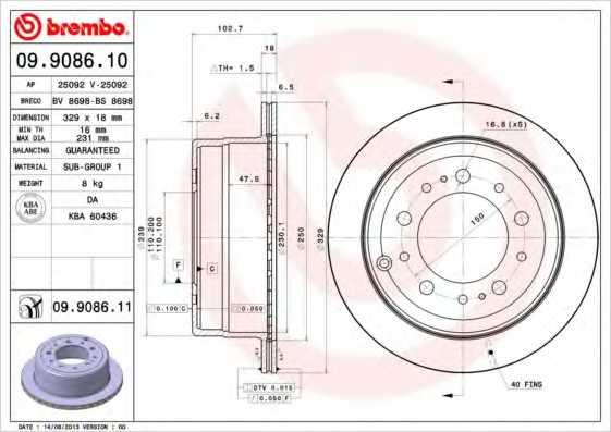 Тормозной диск BREMBO 09.9086.11 - изображение