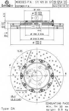 Тормозной диск BREMBO 09.9254.33 - изображение