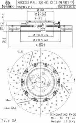 Тормозной диск BREMBO 09.9313.33 - изображение