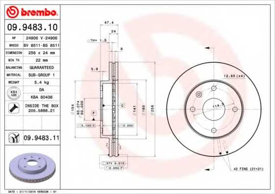 Тормозной диск BREMBO 09.9483.11 - изображение