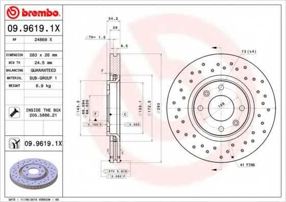 Тормозной диск BREMBO 09.9619.1X - изображение