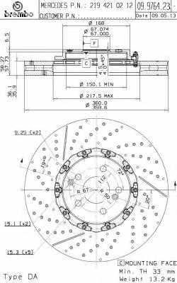 Тормозной диск BREMBO 09.9764.23 - изображение