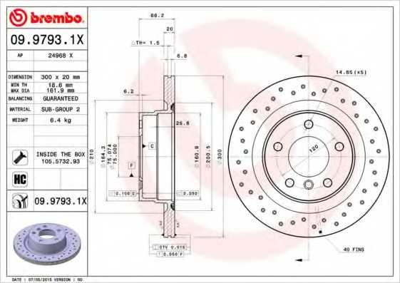 Тормозной диск BREMBO 09.9793.1X - изображение