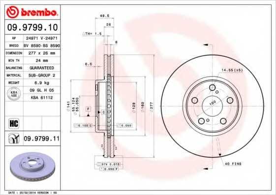 Тормозной диск BREMBO 09.9799.11 - изображение