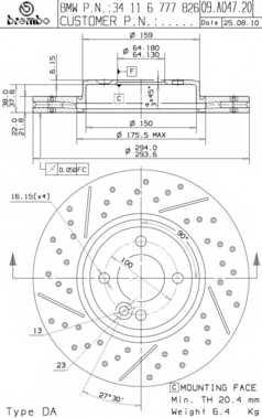 Тормозной диск BREMBO 09.A047.21 - изображение
