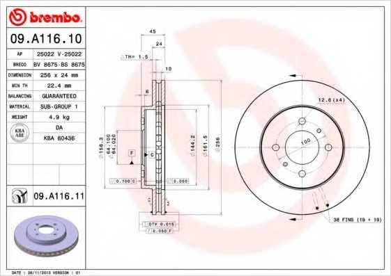 Тормозной диск BREMBO 09.A116.11 - изображение