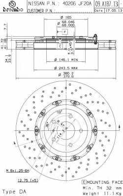 Тормозной диск BREMBO 09.A187.13 - изображение