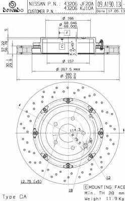 Тормозной диск BREMBO 09.A190.13 - изображение
