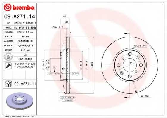 Тормозной диск BREMBO 09.A271.11 - изображение