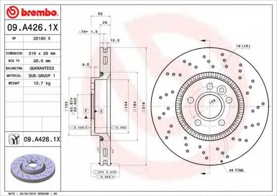 Тормозной диск BREMBO 09.A426.1X - изображение