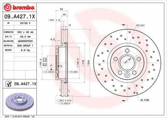 Тормозной диск BREMBO 09.A427.1X - изображение
