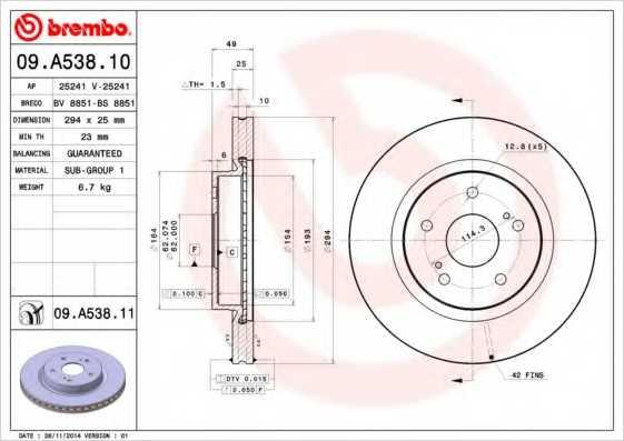 Тормозной диск BREMBO 09.A538.11 - изображение