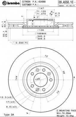 Тормозной диск BREMBO 09.A558.11 - изображение