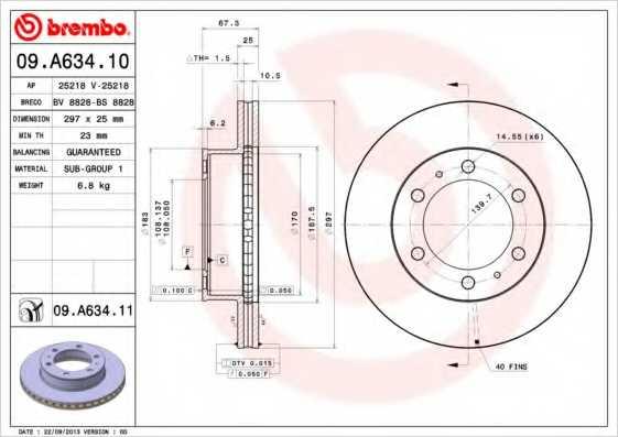Тормозной диск BREMBO 09.A634.11 - изображение