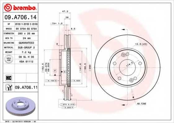 Тормозной диск BREMBO 09.A706.11 - изображение