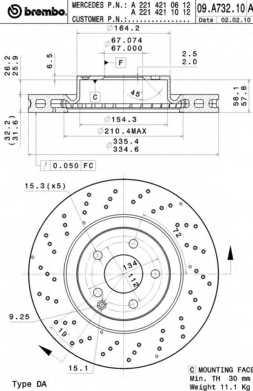 Тормозной диск BREMBO 09.A732.11 - изображение