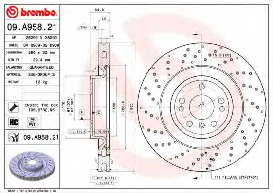 Тормозной диск BREMBO 09.A958.21 - изображение