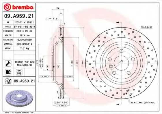 Тормозной диск BREMBO 09.A959.21 - изображение