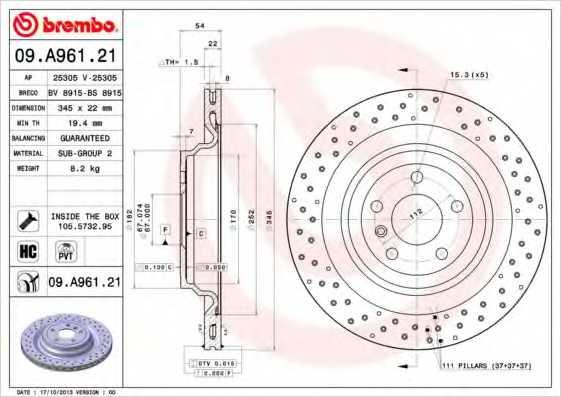 Тормозной диск BREMBO 09.A961.21 - изображение