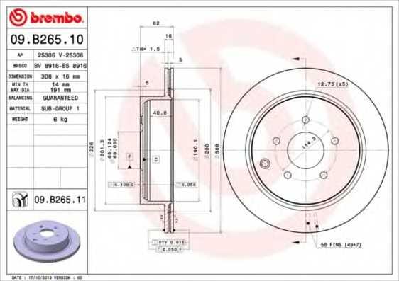 Тормозной диск BREMBO 09.B265.11 - изображение