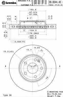 Тормозной диск BREMBO 09.B344.41 - изображение