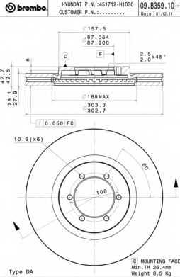 Тормозной диск BREMBO 09.B359.10 - изображение