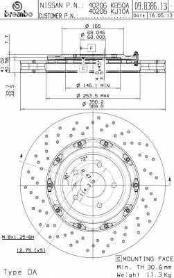 Тормозной диск BREMBO 09.B386.13 - изображение