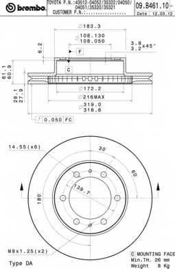 Тормозной диск BREMBO 09.B461.11 - изображение