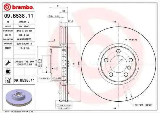 Тормозной диск BREMBO 09.B538.11 - изображение