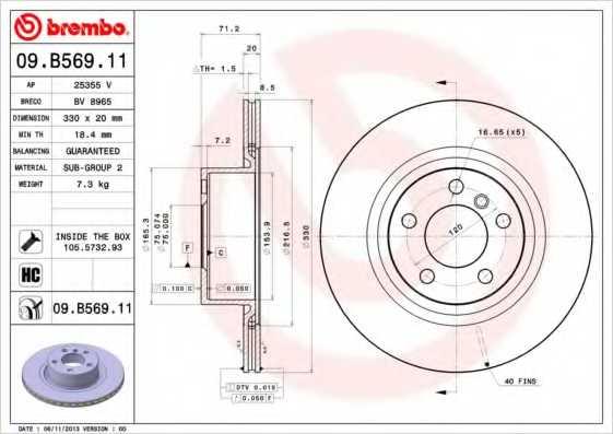 Тормозной диск BREMBO 09.B569.11 - изображение