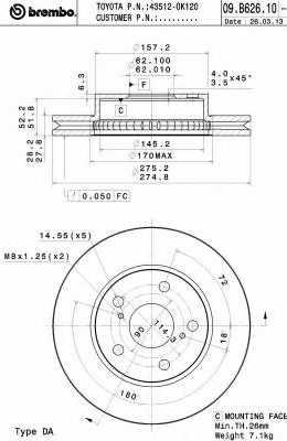 Тормозной диск BREMBO 09.B626.10 - изображение