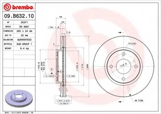Тормозной диск BREMBO 09.B632.10 - изображение