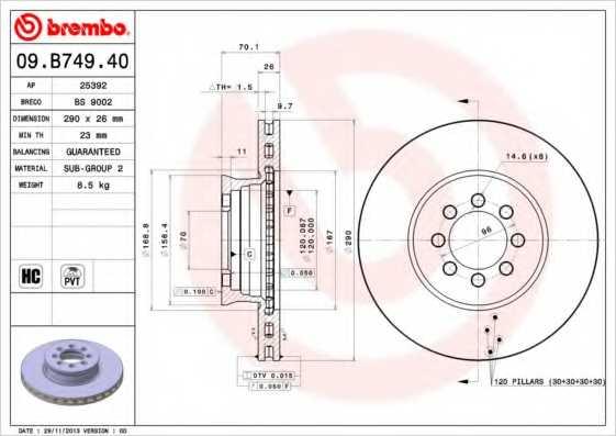 Тормозной диск BREMBO 09.B749.40 - изображение