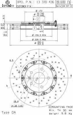Тормозной диск BREMBO 09.B781.13 - изображение