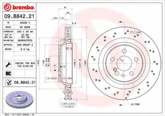 Тормозной диск BREMBO 09.B842.21 - изображение