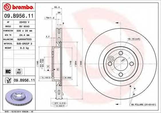 Тормозной диск BREMBO 09.B956.11 - изображение