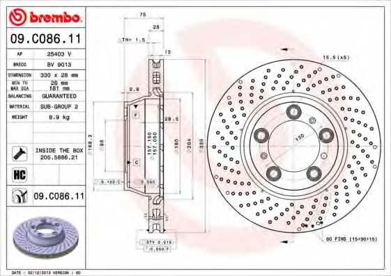 Тормозной диск BREMBO 09.C086.11 - изображение