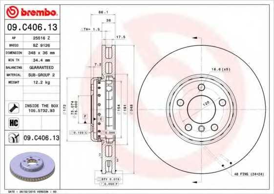 Тормозной диск BREMBO 09.C406.13 - изображение