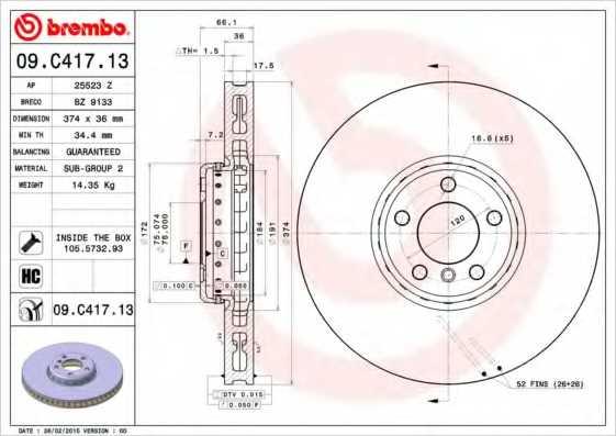 Тормозной диск BREMBO 09.C417.13 - изображение