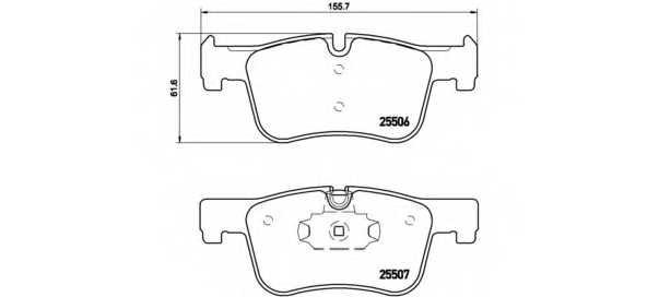 Колодки тормозные дисковые для BMW 1(F20,F21), 3(F30,F31,F34,F35,F80), 4(F32,F33,F36,F82,F83) <b>BREMBO P 06 070</b> - изображение