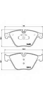 Колодки тормозные дисковые для BMW 5(F07,F10,F11,F18), 6(F06,F12,F13), 7(F01,F02,F03,F04) <b>BREMBO P 06 074</b> - изображение