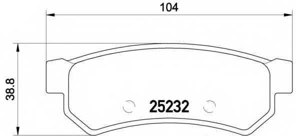 Колодки тормозные дисковые для CHEVROLET LACETTI(J200), NUBIRA, OPTRA / DAEWOO GENTRA <b>BREMBO P 10 053</b> - изображение