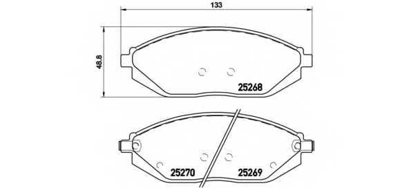 Колодки тормозные дисковые BREMBO P 10 054 - изображение