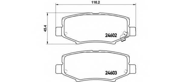 Колодки тормозные дисковые для JEEP CHEROKEE(KK), COMPASS(MK49), WRANGLER(JK) <b>BREMBO P 18 024</b> - изображение