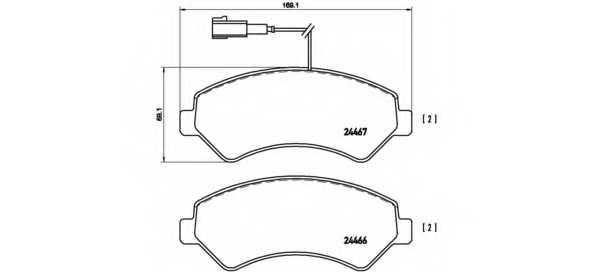 Колодки тормозные дисковые для CITROEN JUMPER / FIAT DUCATO(250,290) / PEUGEOT BOXER <b>BREMBO P 23 136</b> - изображение